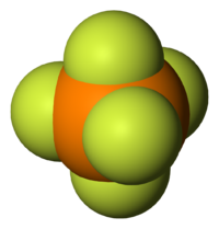 Space-filling model of the phosphorus pentafluoride molecule