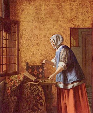 Interior with a Woman weighing Gold Coin - Image: Pieter de Hooch 005