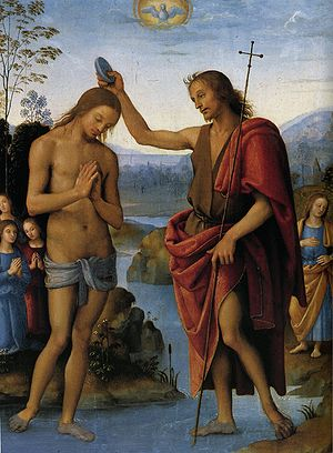 Dove representation in the Baptism of Christ b...