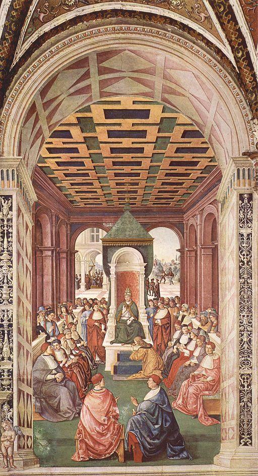 Pinturicchio, Libreria Piccolomini, Enea Silvio fa atto di sottomissione a Eugenio IV