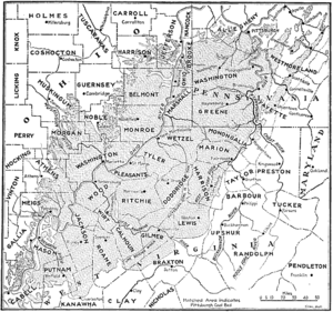Pittsburgh coal seam - Extent of the Pittsburgh Coal Seam in Pennsylvania, Ohio and West Virginia, excluding the deposit in Maryland. Note that the southwestern portion of the seam is of negligible economic importance.