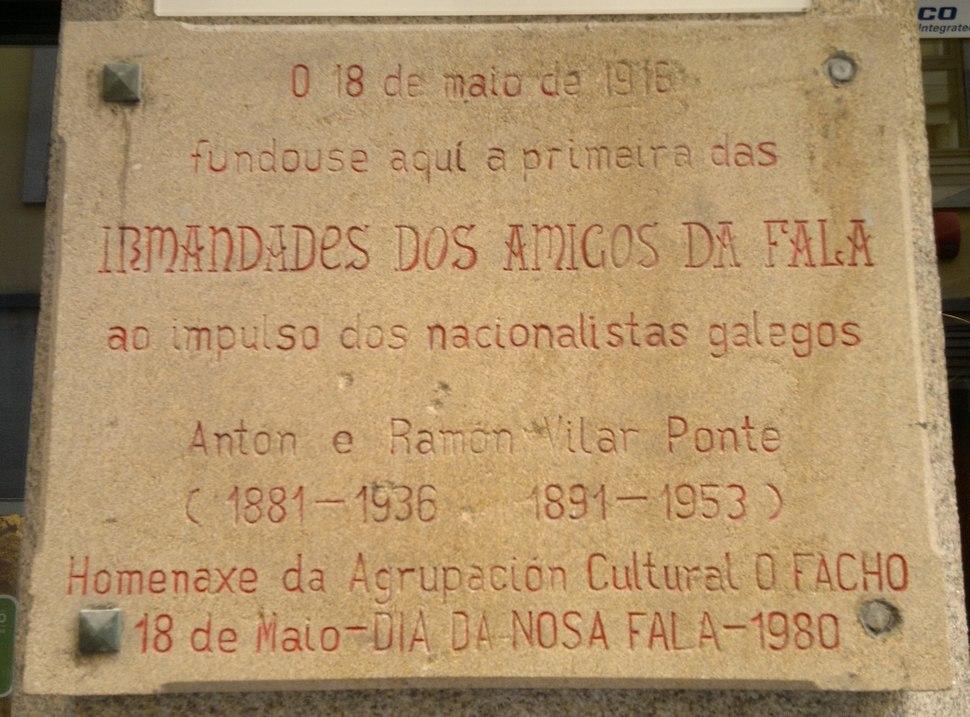 Placa en homenaxe ás Irmandades da Fala na Coruña