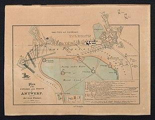 Plan van de citadel en forten van Antwerpen