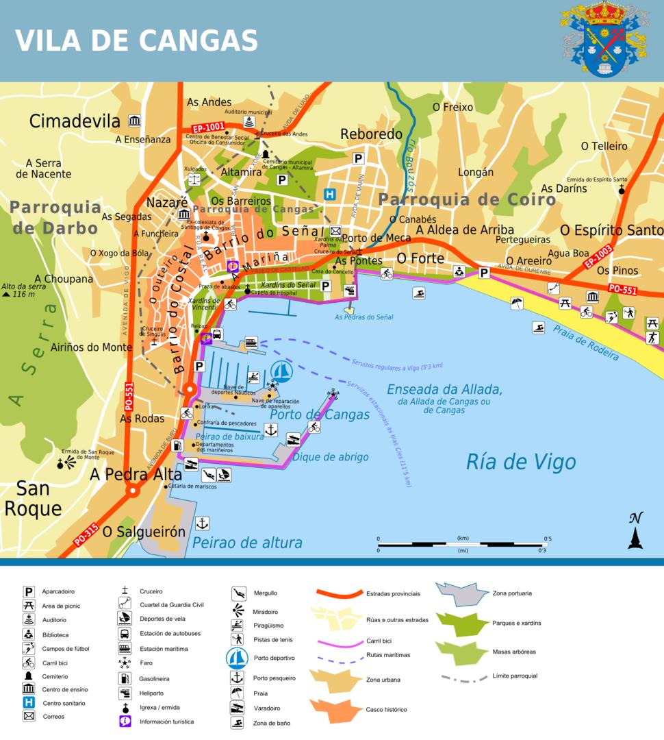 Plano da vila de Cangas