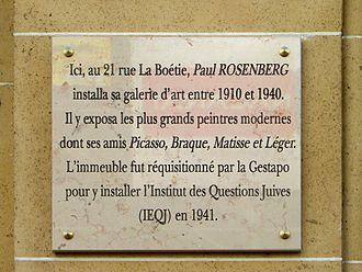 Rue La Boétie - Image: Plaque Paul Rosenberg au 21 rue La Boétie à Paris