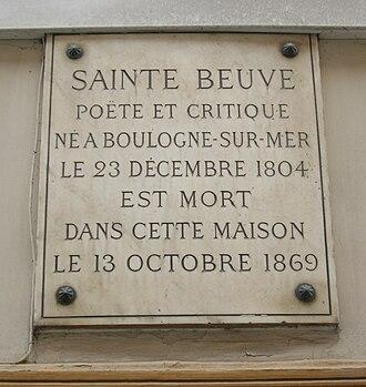 Charles Augustin Sainte-Beuve - Commemorative plaque, 11 Rue du Montparnasse, Paris.