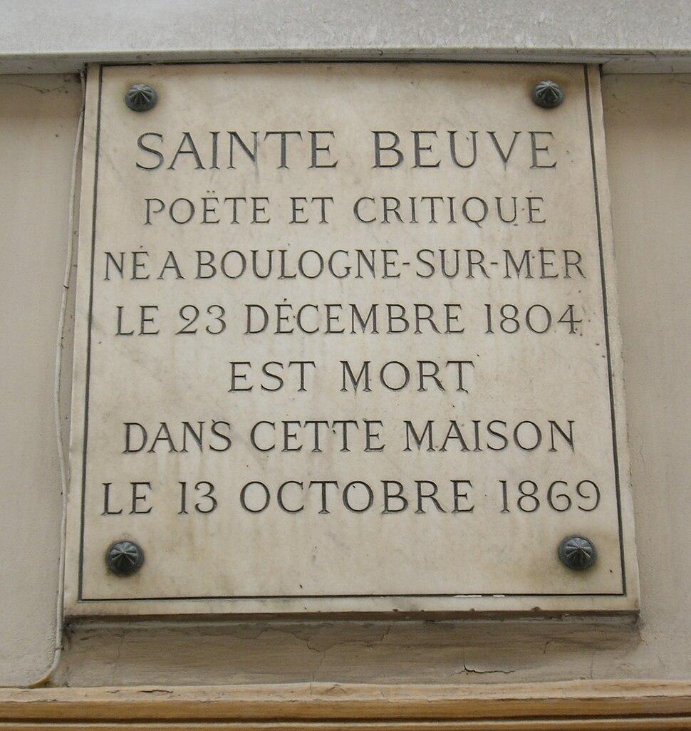Plaque Sainte-Beuve, 11 rue du Montparnasse, Paris 6