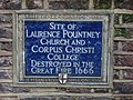 Plaque re Laurence Pountney Church, Laurence Pountney Hill, EC4 - geograph.org.uk - 1094288.jpg