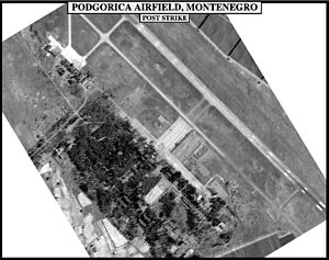 Aerial photography - Air photo of a military target used to evaluate the effect of bombing.