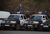 Police vehicles in Yerevan.