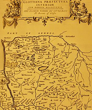 "Coatbridge - Pont's ""Nether Warde of Clyds-dail"" map c. 1654 which depicts the hamlets of Kirkwood, Dunpelder, Wheatflet, Dunbath, Gartshary in the modern day Coatbridge area"