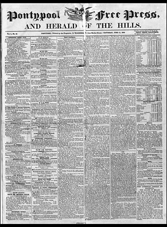 Pontypool Free Press - Pontypool Free Press front page 11 June 1859