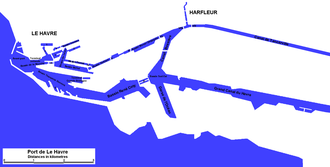 Port of Le Havre - Plan of the Port, showing terminal locations and principal uses.