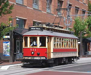 Gomaco Trolley Company - Gomaco-built Brill-type vintage-trolley replica on the Portland Vintage Trolley service, in downtown Portland, Oregon.