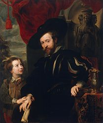 anoniem: Portrait of Rubens with his Son Albert (copy from the lost original of the late 1610s)