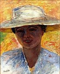 Portrait de femme au grand chapeau