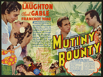 Mutiny on the Bounty - Poster for the 1935 film Mutiny on the Bounty, starring Charles Laughton as Bligh and Clark Gable as Christian