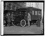 Postmaster General Will Hayes and other Post Office officials inspecting the new armoured trucks which it is proposed to put into use as a means of protection for the mails, 12-1-21 LOC npcc.05465.jpg