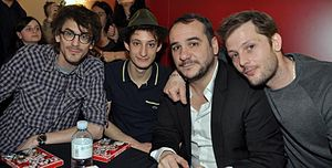 Just Like Brothers - From left to right: Hugo Gélin, Pierre Niney, François-Xavier Demaison and Nicolas Duvauchelle