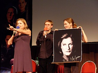 Kate Mulgrew - Mulgrew (l.) with early photograph in Prague
