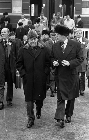 Brezhnev meets U.S. President Gerald Ford at the Vladivostok Summit in 1974 after securing his position as leader of the USSR.