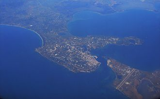 Preveza - Preveza from the air. The cape of Actium and the airport can be seen in the lower right.