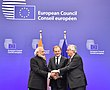Prime Minister Narendra Modi with the President European Council Donald Tusk, and the President European Commission Jean-Claude Juncker, at the EU-INDIA Summit.jpg