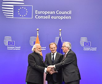 India–European Union relations - Indian PM Narendra Modi with the President of European Council Donald Tusk, and the President of European Commission Jean-Claude Juncker, at the EU-India Summit, Brussels, 2016