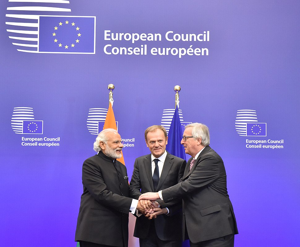 Prime Minister Narendra Modi with the President European Council Donald Tusk, and the President European Commission Jean-Claude Juncker, at the EU-INDIA Summit