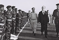 Prime minister Levy Eshkol and chief of staff Zur at graduation ceremony of congolese paratroopers, training base in Israel. September 1963. D772-070.jpg