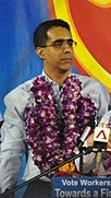Pritam Singh at the Workers' Party general election rally, Serangoon Stadium, Singapore - 20110505.jpg