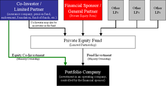 Equity co-investment - Diagram of the structure of an equity co-investment in a portfolio company alongside a financial sponsor