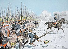 Painting of Prussian grenadiers marching across a snowy field while under fire