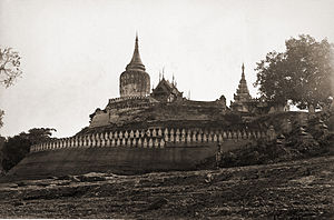 Bagan - The original Bupaya seen here in 1868 was completely destroyed by the 1975 earthquake. A new pagoda in the original shape, but gilded, has been rebuilt.