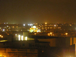 Qormi by night, as seen from Marsa
