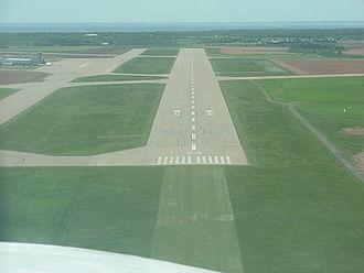 Summerside Airport - Short final, runway 23 (then 24) in Summerside, PEI