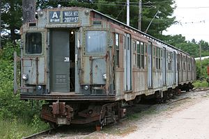 R4 (New York City Subway car) - An R4 subway car on display at the Seashore Trolley Museum