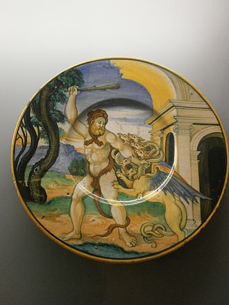 Applied Arts Collection - Image: Raccolte d'Arte Apllicata di Milano Ercole che lotta contro l'idra Nicola da urbino maiolica 1525 35 Urbino