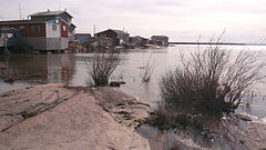 Dwellings in Behchokǫ̀ on the shore of Great Slave Lake