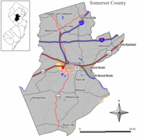 Map of Raritan in Somerset County. Inset: Location of Somerset County highlighted in the State of New Jersey.