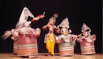Manipuri dance - Manipuri dancers in traditional costumes.
