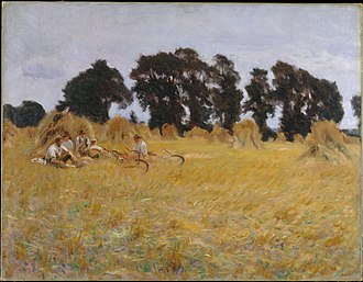 Broadway, Worcestershire - Reapers Resting in a Wheat Field, painted by American impressionist John Singer Sargent near Broadway in 1885