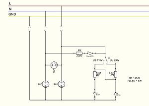 Receptacle tester - Possible wiring diagram