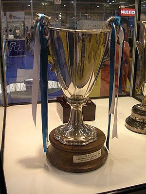 Real Zaragoza - The 1995 Cup Winners' Cup in display in the club's trophy cabinet.