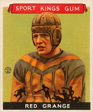 Red Grange - Grange on a trading card.