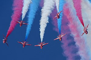 National colours of the United Kingdom - Red Arrows with red, white and blue smoke