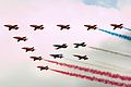 Red Arrows 50th Anniversary flypast - RIAT 2014 (14591052589).jpg
