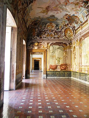 Palace of Portici - Salon with frescoes with quadratura.