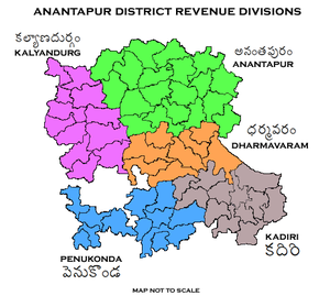 Anantapur district - Revenue divisions map of Anantapur district