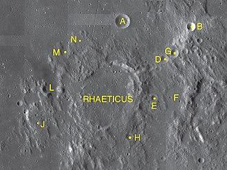 Rhaeticus (crater) - Rhaeticus and its satellite craters map